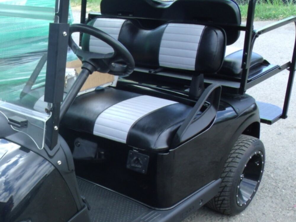 ez go txt 2 stripe golf cart custom front rear flip seat cover combo ebay. Black Bedroom Furniture Sets. Home Design Ideas