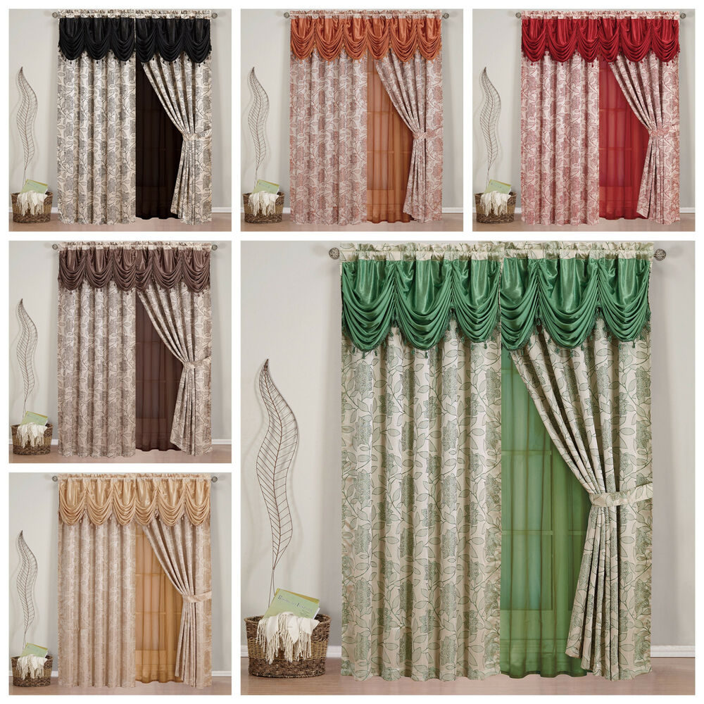 4pc Window Treatment Set With Sheer Backing Valance