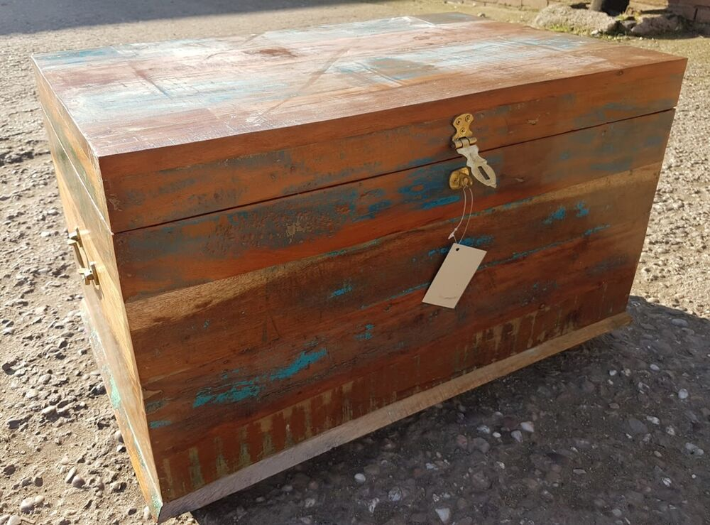 Trunk chest ottoman seat shabby chic Blanket Box wood