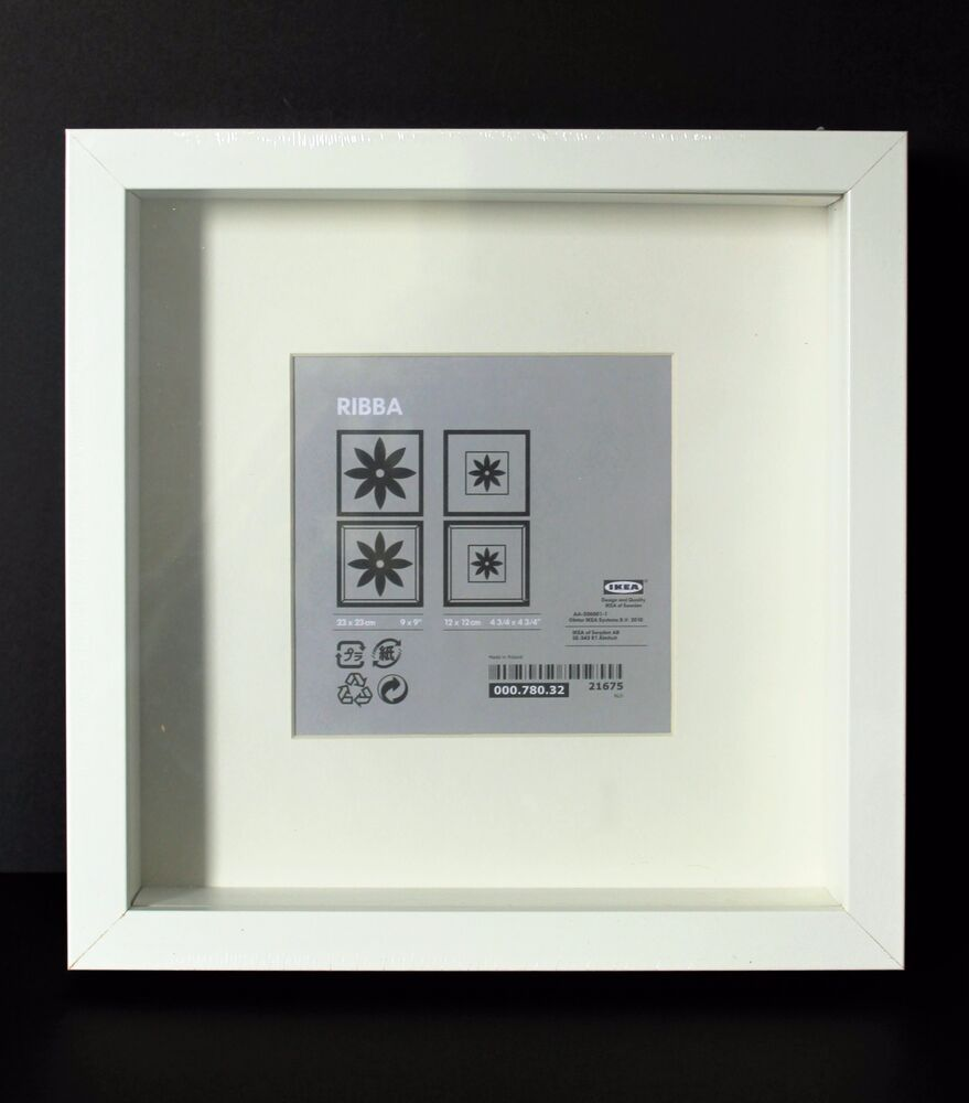 new square ikea deep shadow box photo frame white memory box 23 x 23cm genuine ebay. Black Bedroom Furniture Sets. Home Design Ideas