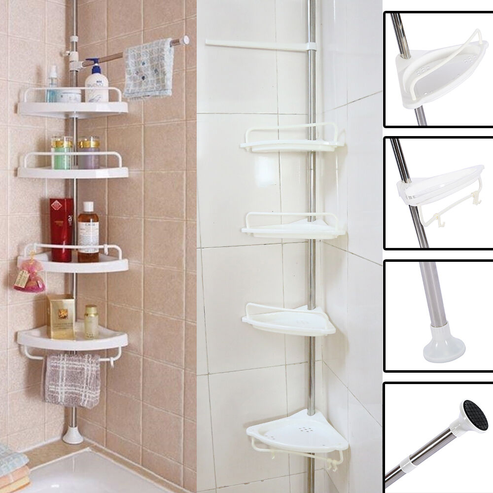 2 4layer Triangular Shower Shelf Bathroom Corner Bath Rack