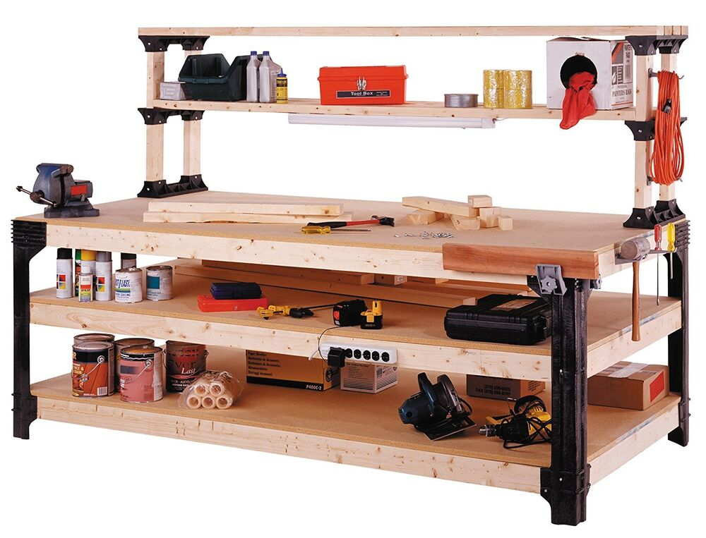 Workbench table kit diy bench custom storage wooden shelf garage shop workshop ebay Bench with shelf