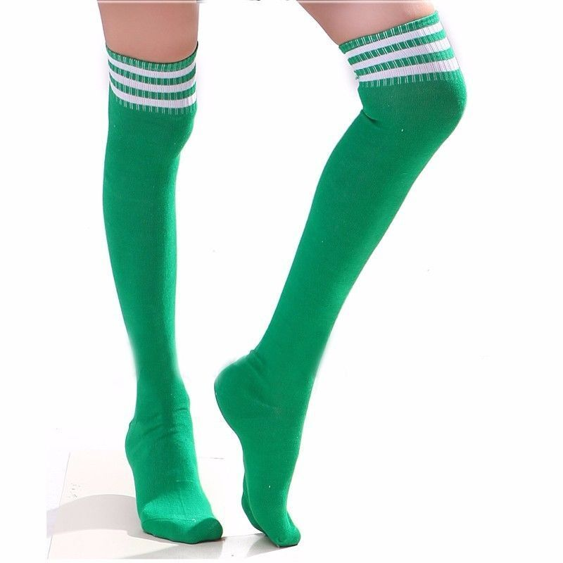 Green Rugby Socks: Green Costume Rugby-Style Socks Over-the-Knee Thigh-Highs