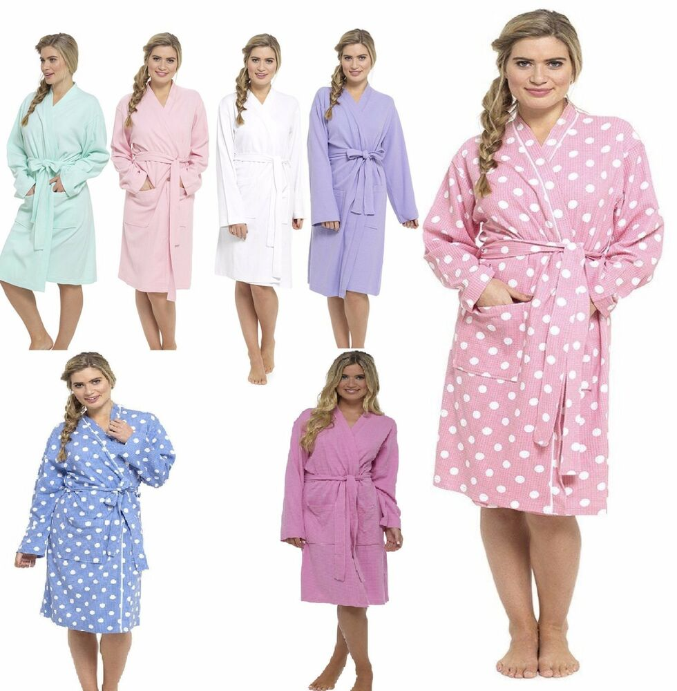 ladies womens waffle bath robe 100 cotton dressing gown. Black Bedroom Furniture Sets. Home Design Ideas