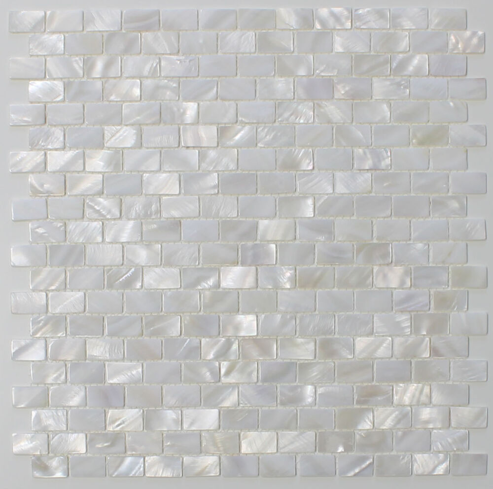 Mother Of Pearl Oyster White Subway Mosaic Tiles
