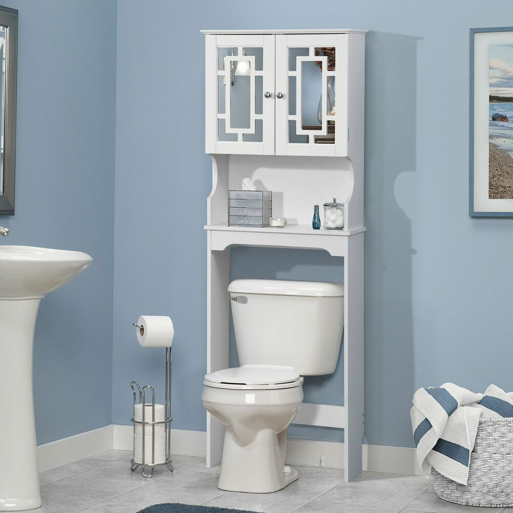 bathroom space saver cabinet over the toilet white wood storage doors shelf ebay. Black Bedroom Furniture Sets. Home Design Ideas