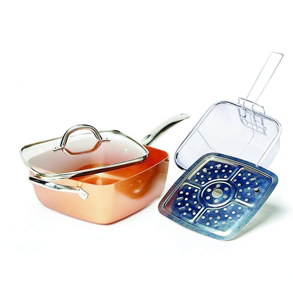 Copper Square Pan Induction Chef Glass Lid Fry Basket