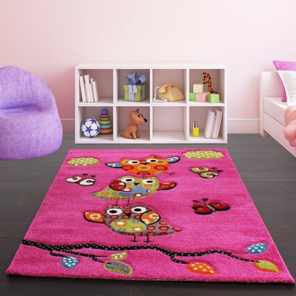 Childrens Rug Kids Carpet Girls Room Pink Nursery Mat