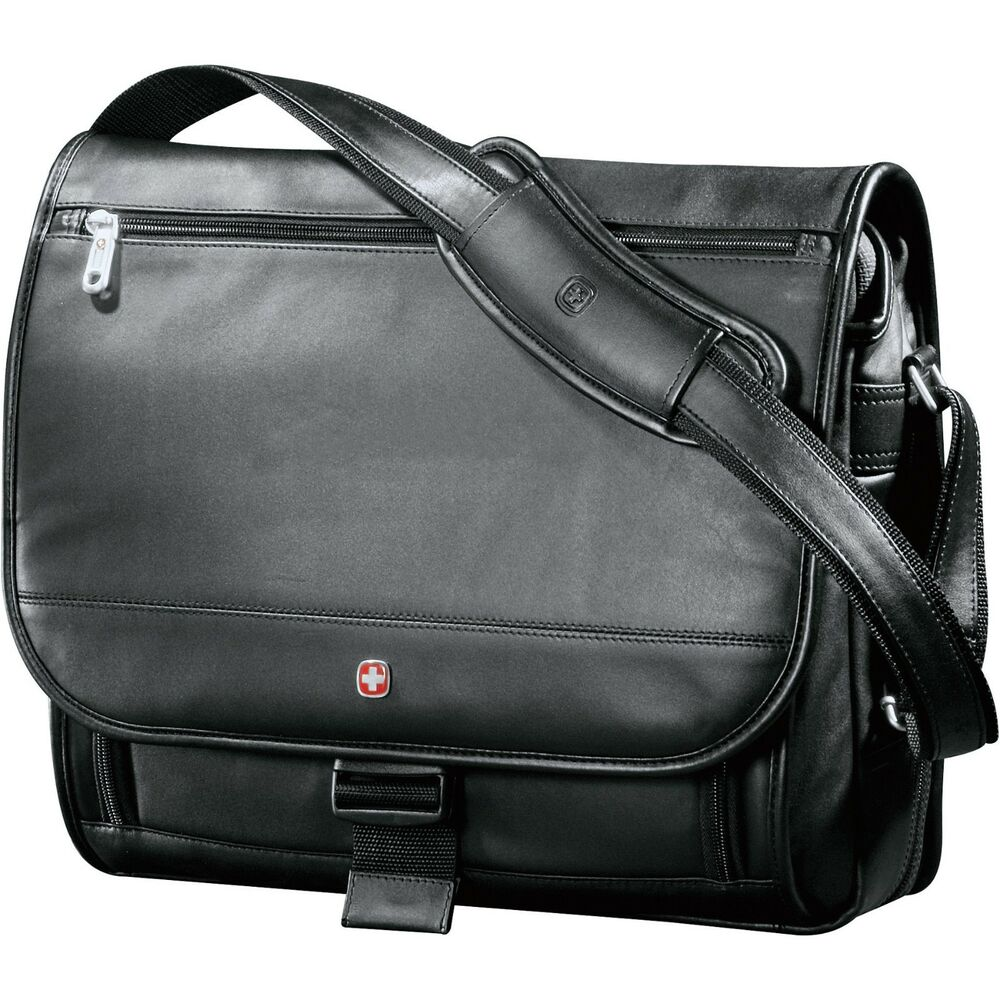 "Wenger Executive Leather Compu-Saddle Bag, 17"" Leather"