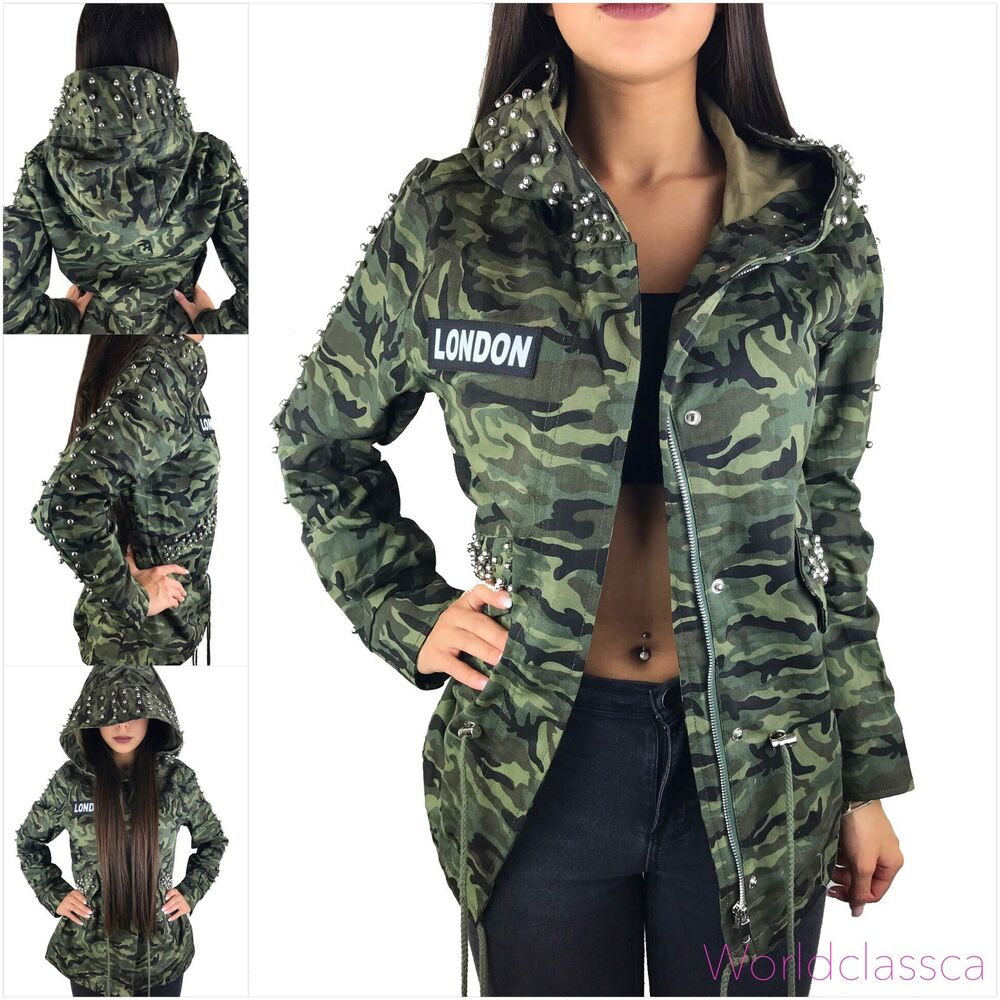 damen camouflage jacke parka milit r bergangsjacke kapuze mantel nieten army ebay. Black Bedroom Furniture Sets. Home Design Ideas