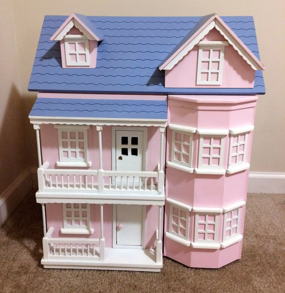 Victorian Wooden Pink Dollhouse House With Furniture Heavy