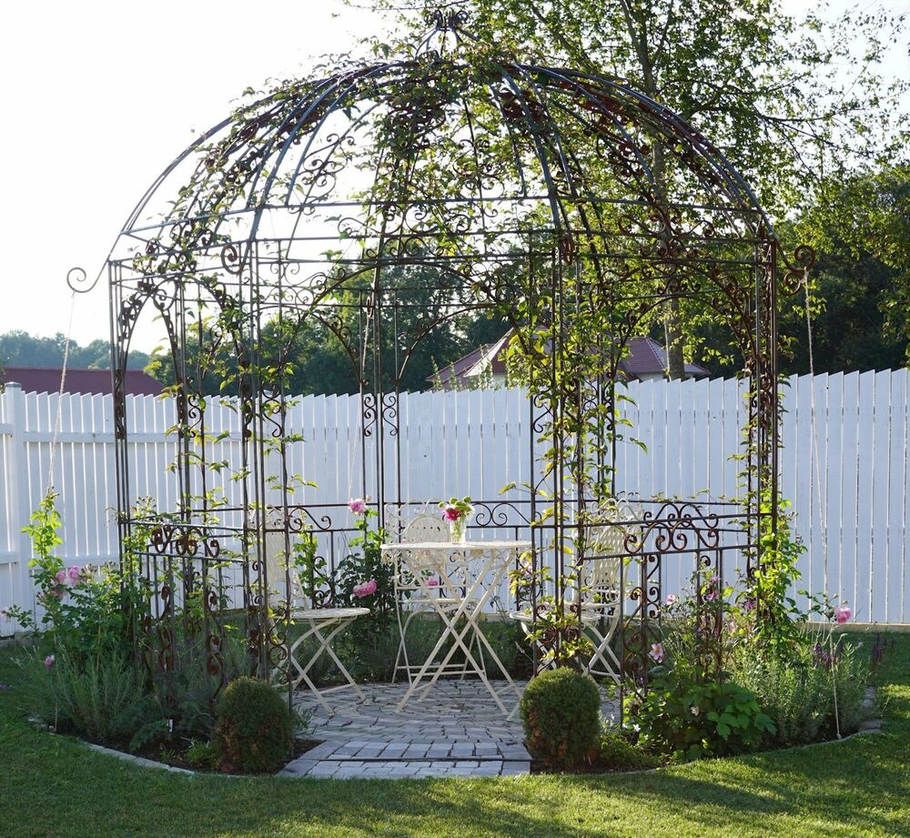 pavillon garten metall schmiedeeisen rost 300 cm pavilion eisen ebay. Black Bedroom Furniture Sets. Home Design Ideas
