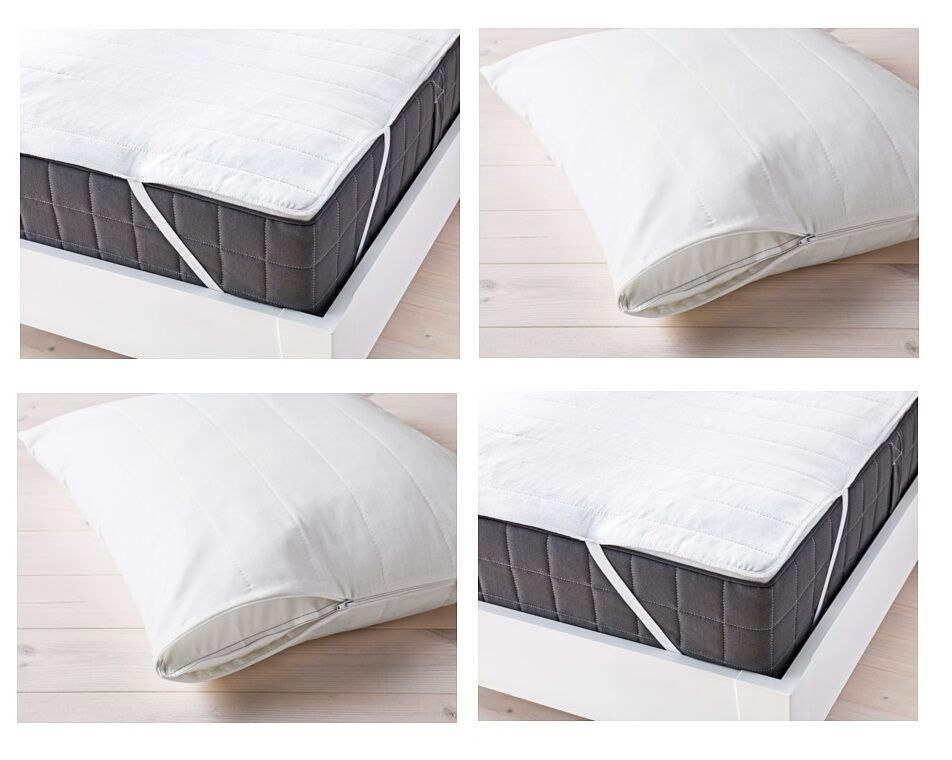 ikea bed mattress and pillow cover protector topper white cotton blend all sizes ebay. Black Bedroom Furniture Sets. Home Design Ideas