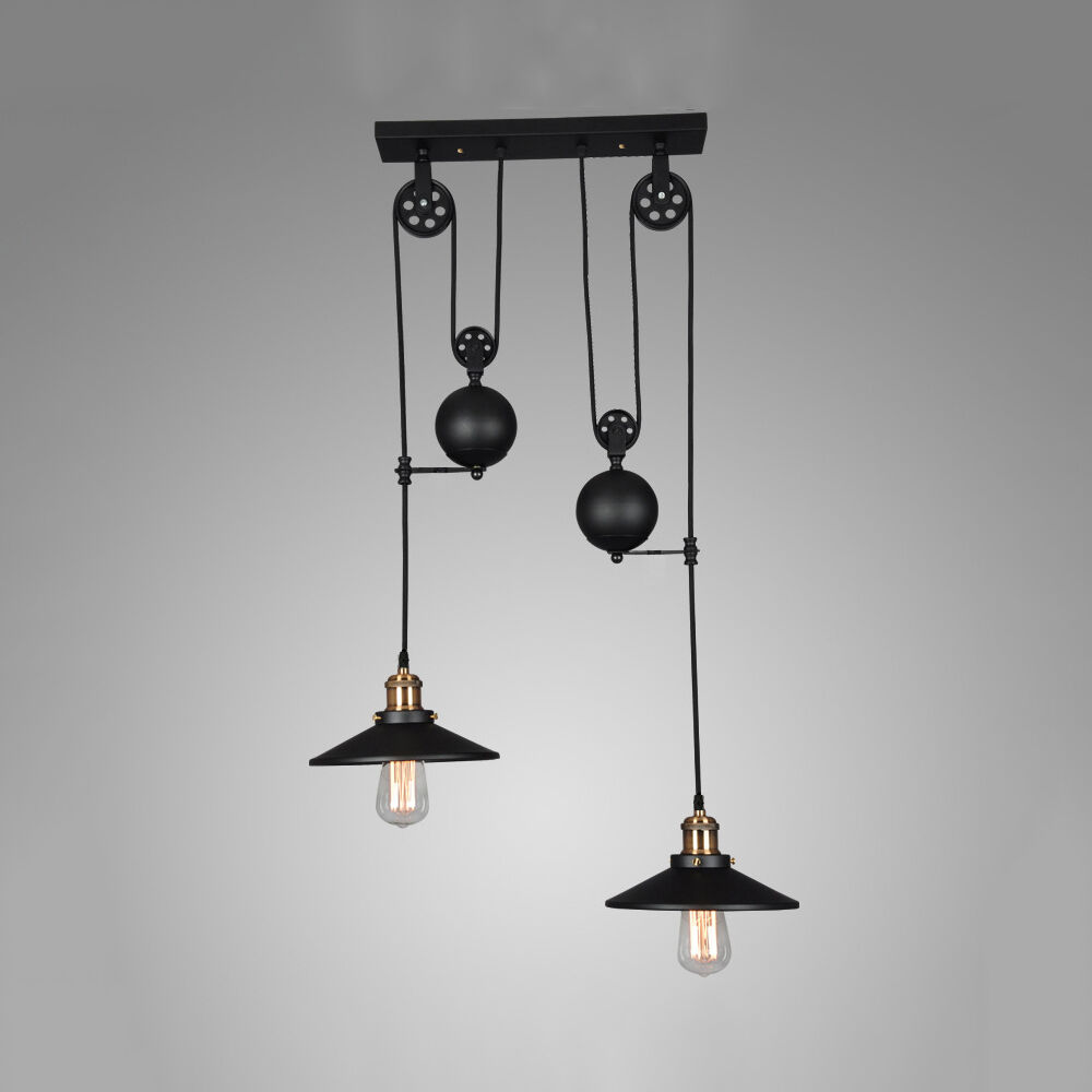 1/2 Heads Black Pendant Pulley Design Painted Bar Light