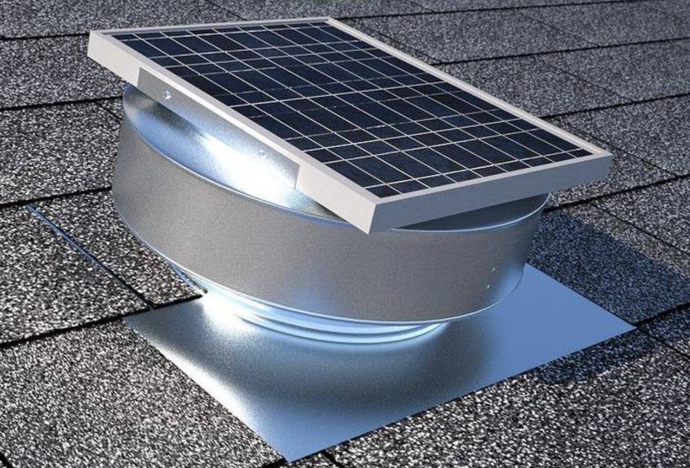 Attic Solar Powered Roof Exhaust Fan Vent Panel Rust Free