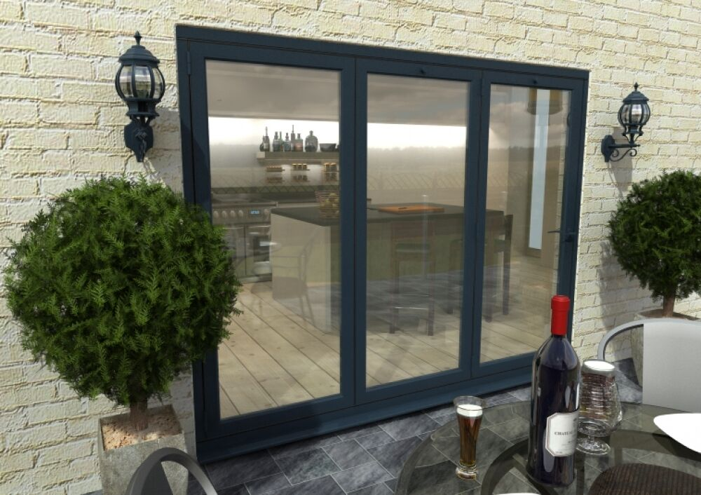 New Aluminium Bi Fold Doors Inc Glass 3 Panels Ral 7016