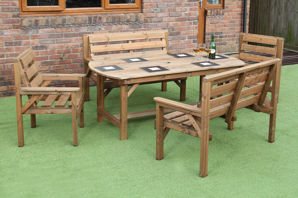 wooden garden furniture patio set table 2 benches and 2 chairs ebay