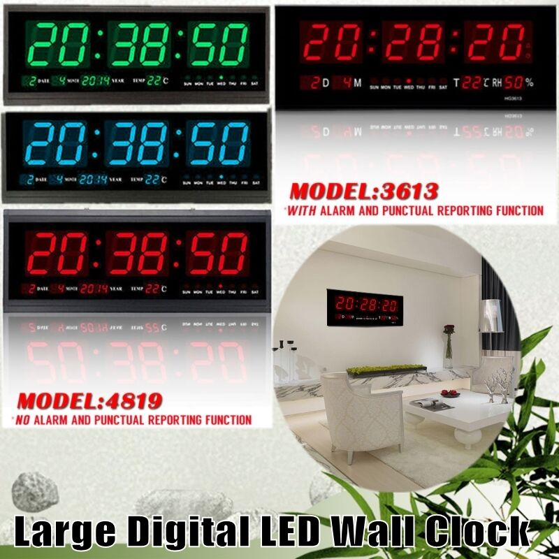 Digital Large Big Jumbo Led Home Wall Desk Clock With Calendar Temperature Us Ebay
