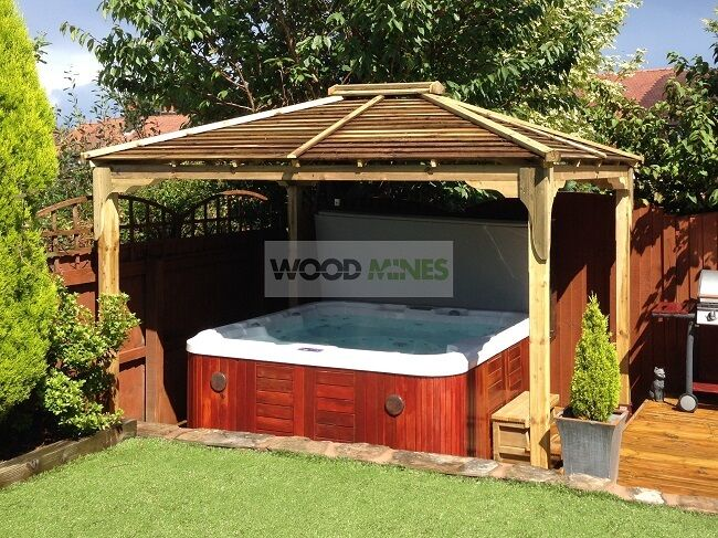 X 3m Heavy Duty Wooden Hot Tub Gazebo Kit Made To