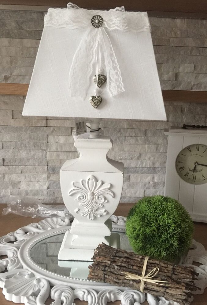 tischleuchte 55 cm xl stehlampe holzfu mit ornament lampe shabby chic wei ebay. Black Bedroom Furniture Sets. Home Design Ideas