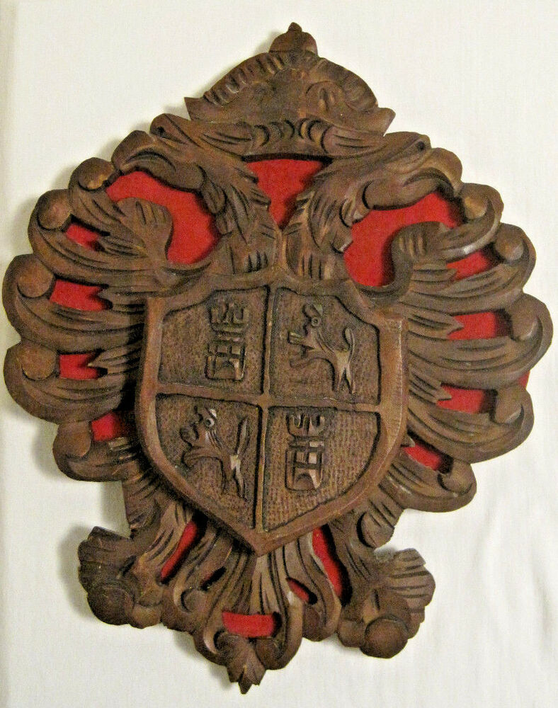 Coat of arms wall decor eagle crown castle lion carved