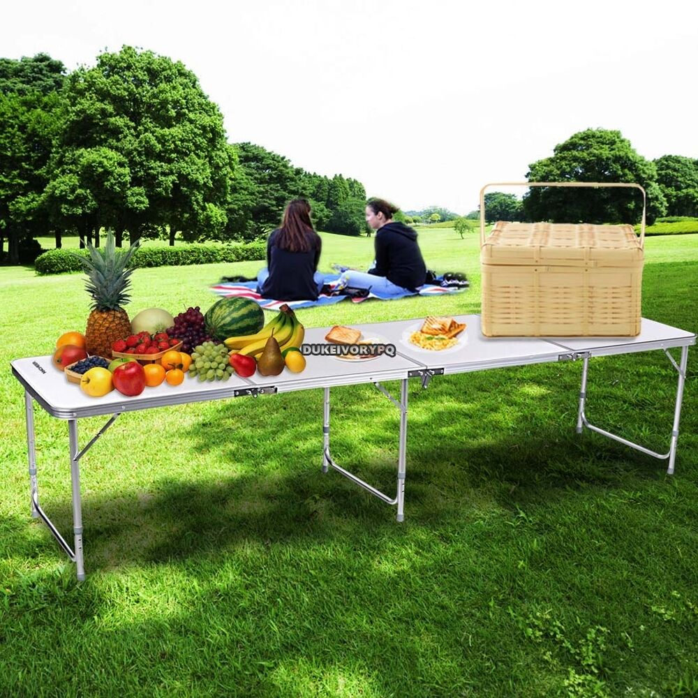 new portable folding aluminum table outdoor picnic party camping hot us ship ebay. Black Bedroom Furniture Sets. Home Design Ideas