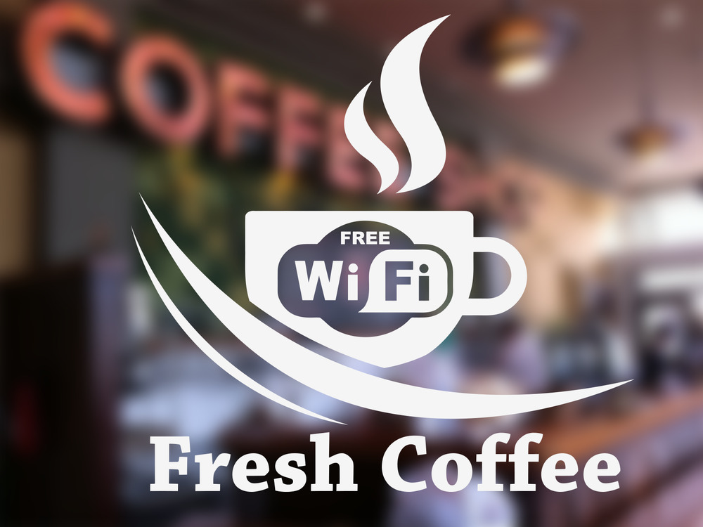 Free Wifi Cup Coffee Shop Sticker Window Vinyl Sign