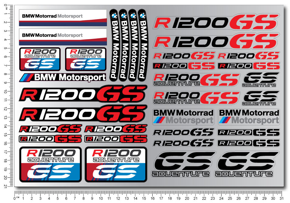 r1200gs adventure motorrad motorcycle quality stickers decal set bmw r1200 gs ebay. Black Bedroom Furniture Sets. Home Design Ideas