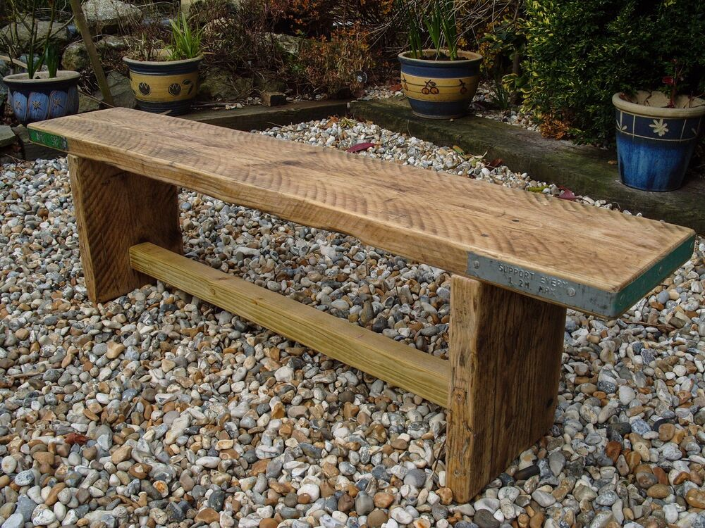 Reclaimed scaffold board rustic chunky wood bench ebay for Recycled wood board