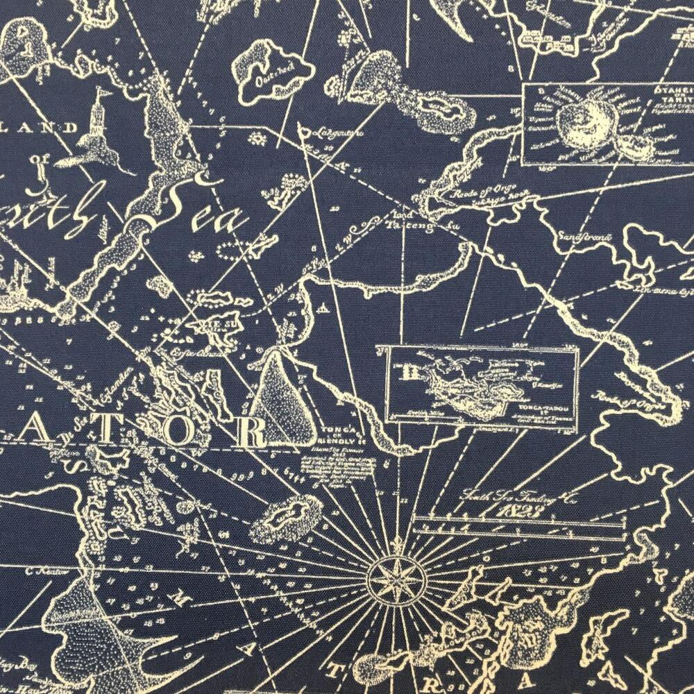 Tommy Bahama Navy Blue White Nautical Chart Outdoor Fabric