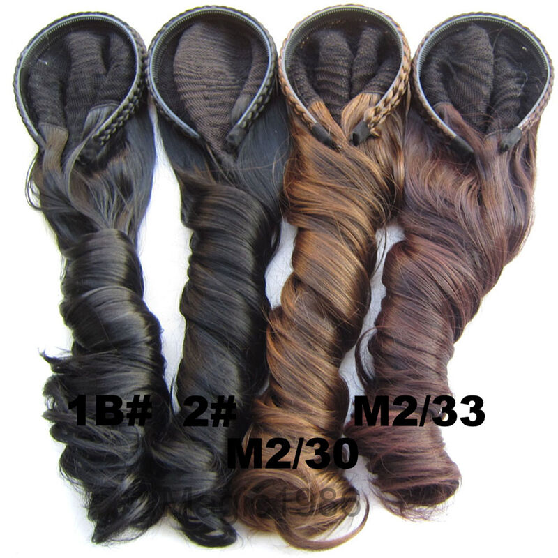 24 Quot Women Braided Body Wave Wigs Synthetic Curly 3 4 Half