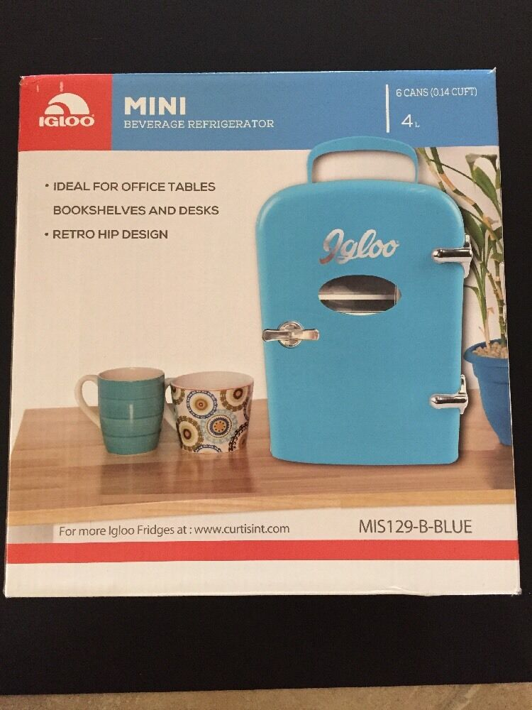 Desktop Beverage Cooler ~ Igloo mini beverage refrigerator desktop cooler blue