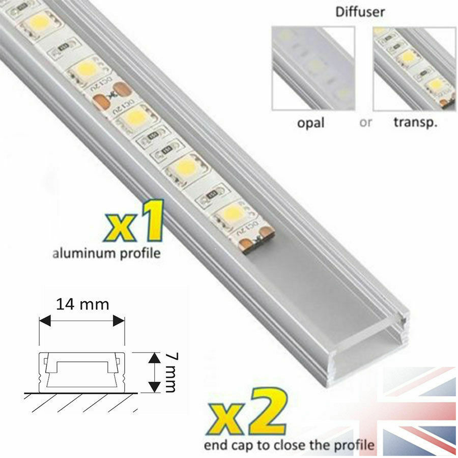 1 meter aluminium channel for led strip light cover pvc profile slim diffuser ebay. Black Bedroom Furniture Sets. Home Design Ideas