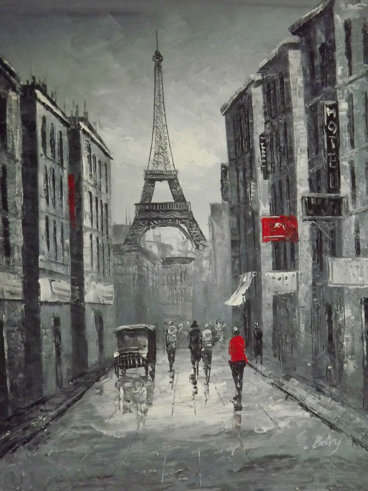 Black white red paris cityscape large oil painting canvas for White canvas painting