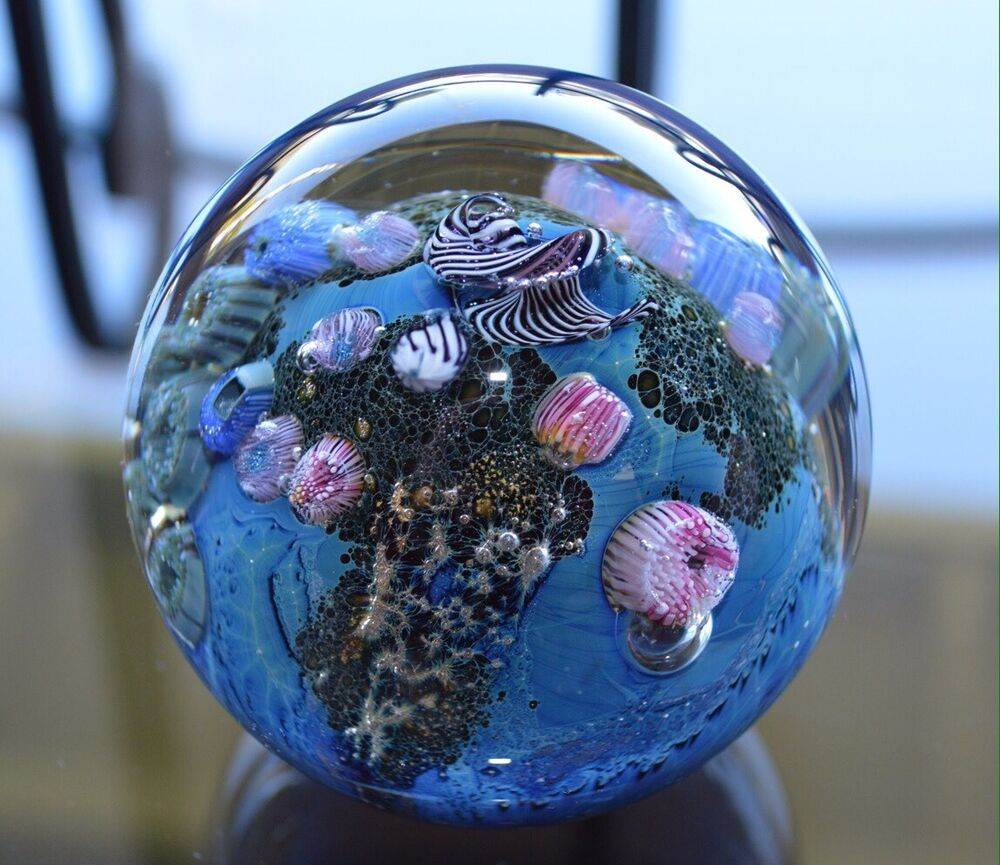 JOSH SIMPSON Studio INHABITED PLANET Art Glass PAPERWEIGHT ...