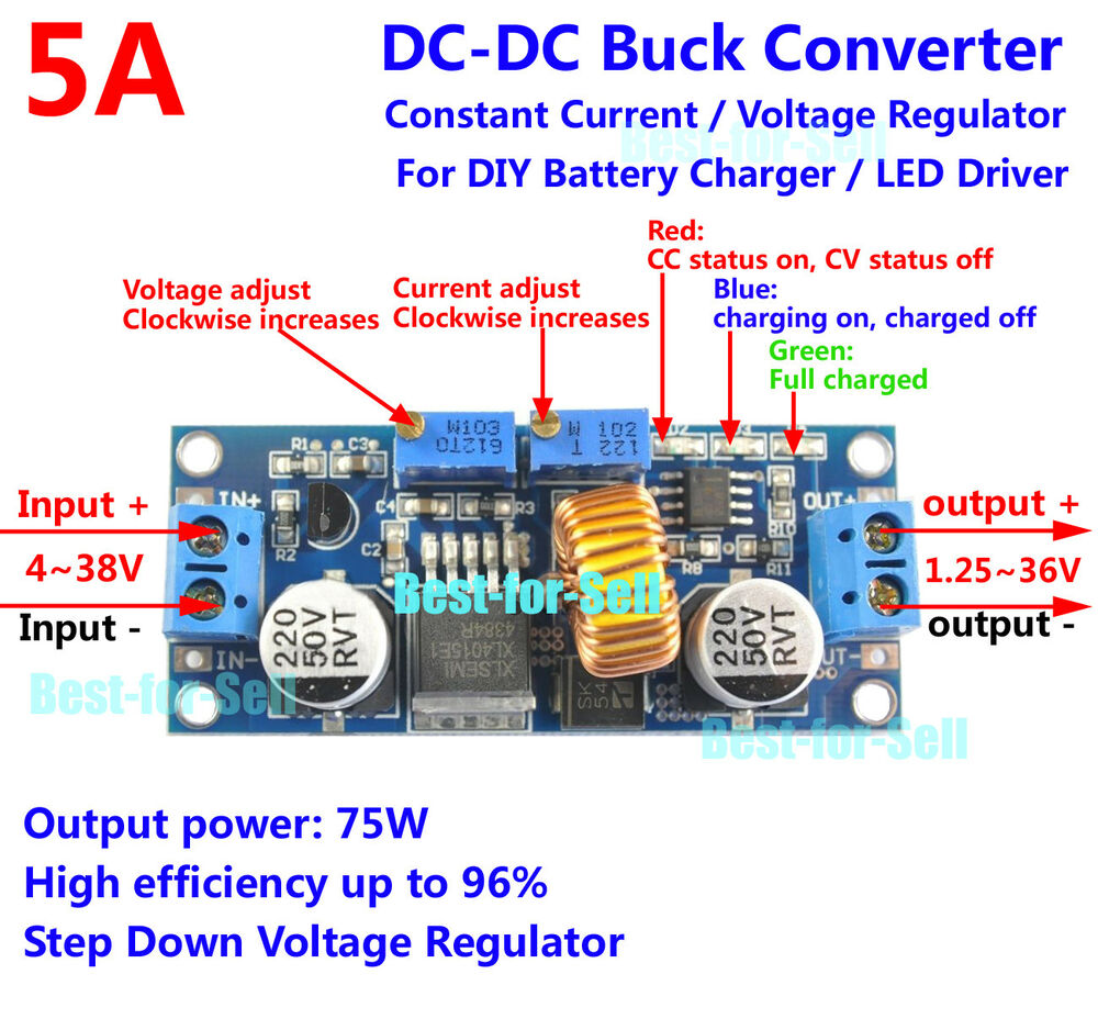 5a Dc Step Down Converter Constant Current Voltage 3v 5v 12v 24v Led This Circuit Can Be Adjusted To Solar Power 699930861999 Ebay