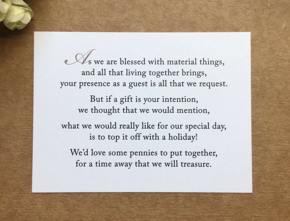 Wedding Poem Card Inserts Invitations Money Cash Gift Honeymoon Ebay
