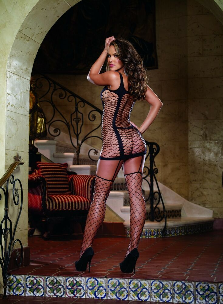 ea09fd1e74 OPAQUE FENCE NET GARTER DRESS BODYSTOCKING ATTACHED THIGH HIGH STOCKINGS  OS-QN
