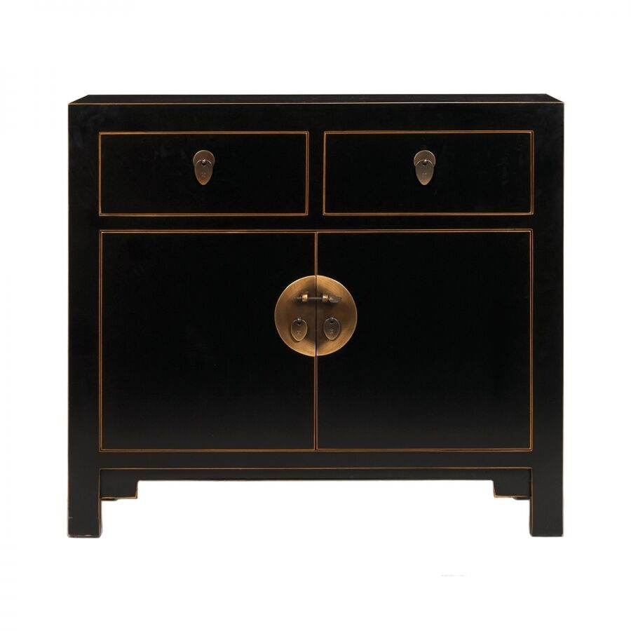 New small chinese sideboard in black with gold leaf edges for Asian furniture uk