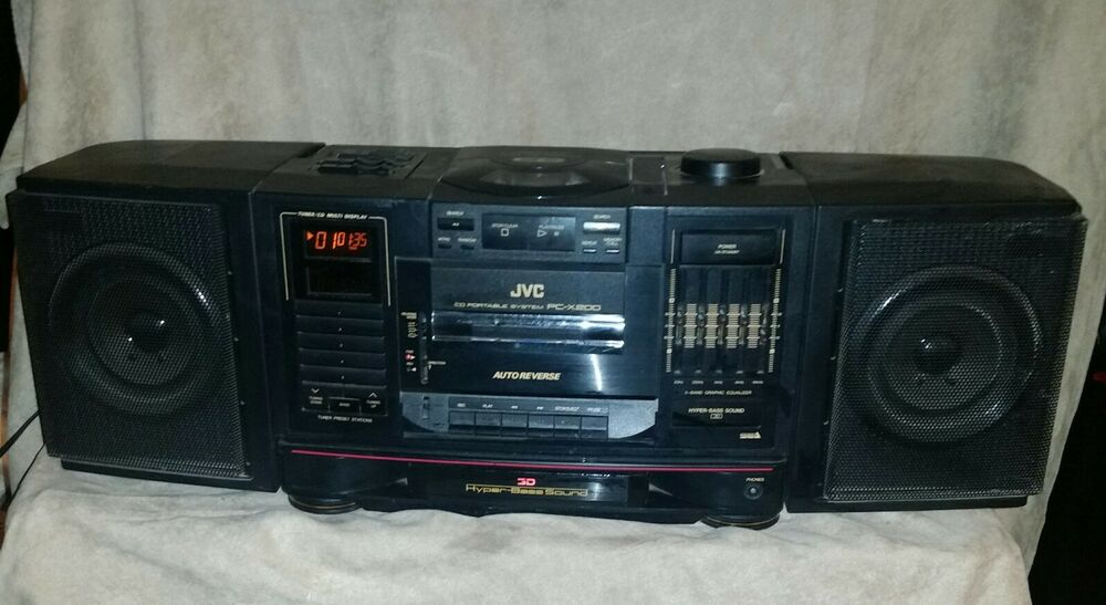 vintage jvc pc x200 boombox portable stereo cd tape tested works ebay. Black Bedroom Furniture Sets. Home Design Ideas