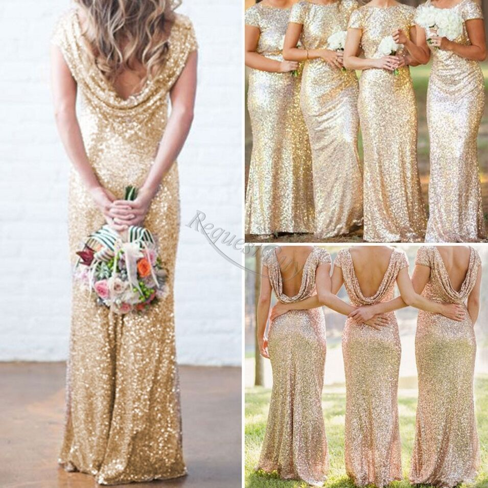 bridal mermaid gold sequin bridesmaid dress stretchy backless wedding party gown ebay. Black Bedroom Furniture Sets. Home Design Ideas