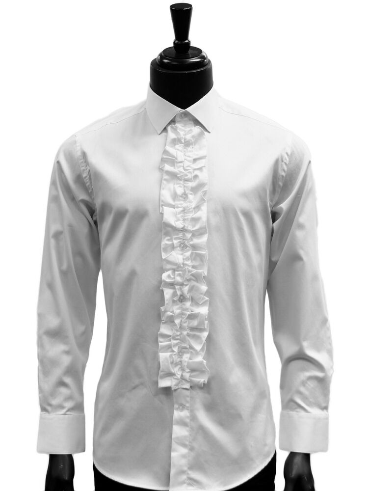 Giovanni mens white cotton ruffled dress formal trendy for Mens formal white shirts