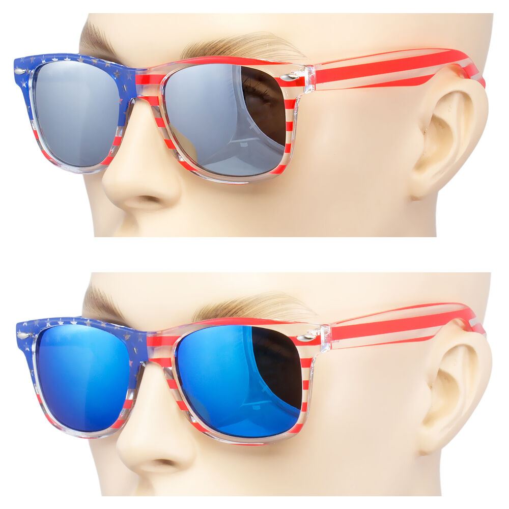 eb3e0b2bbc27 Details about NEW USA American Flag White frame blue ice Fire Mirror lens  sunglasses Vintage