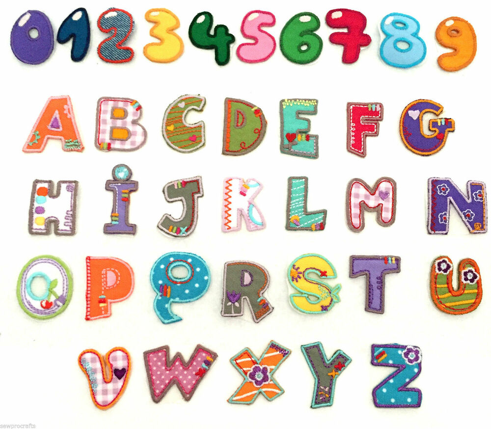 Alphabet letters numbers embroidered motif fabric iron on for Embroidered alphabet letters