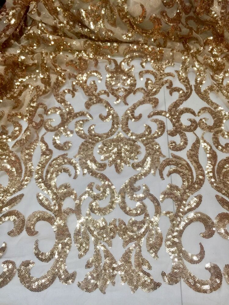 Gold stretch mesh w sequin embroidery lace fabric