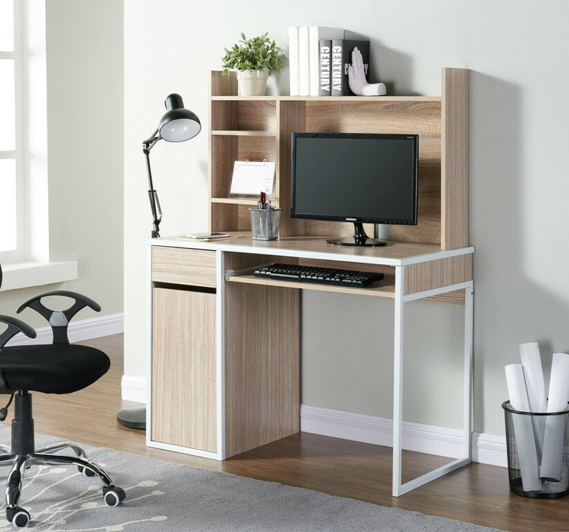 Wooden Computer Desk Oak Finished Pc Laptop Desk Home Office Furniture Storage Ebay