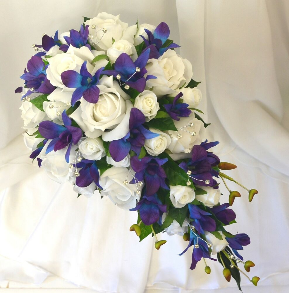 Blue Wedding Flowers: Silk Wedding Flowers Blue Purple Orchids White Roses