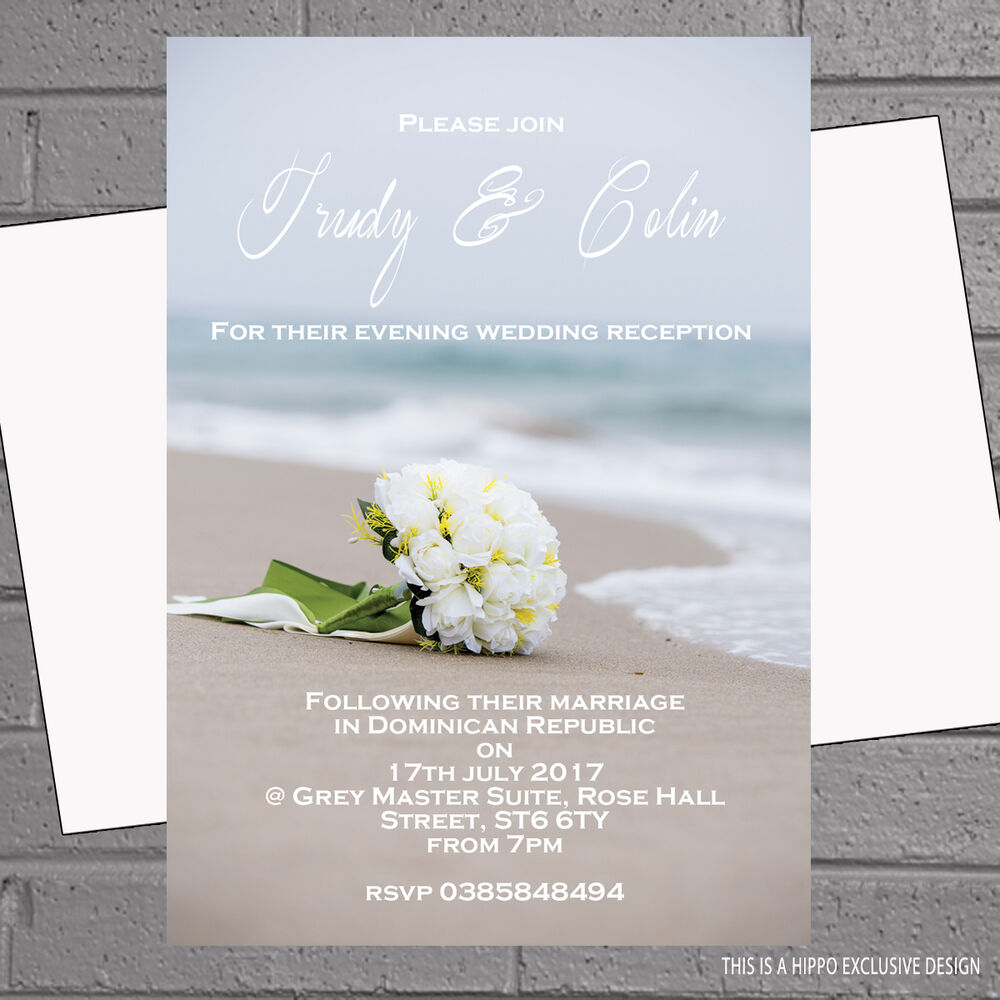 Beach Bouquet Wedding Abroad Wedding Reception Invitations x 12 with ...
