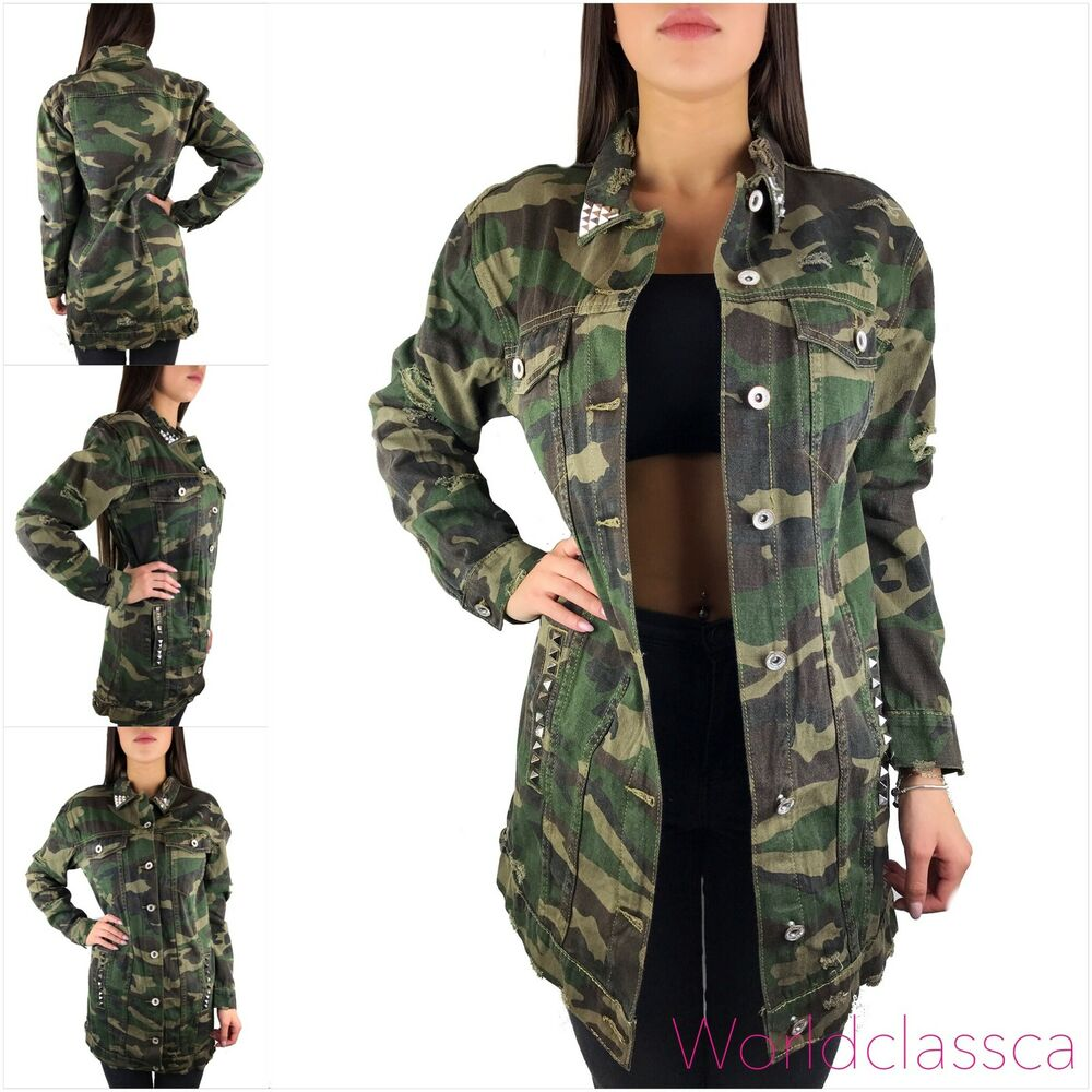 damen camouflage jeans jacke lang nieten parka milit r. Black Bedroom Furniture Sets. Home Design Ideas