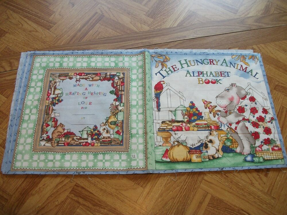 Hungry animal alphabet book children soft story book for Childrens quilt fabric